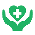 Hands supporting heart with medical cross