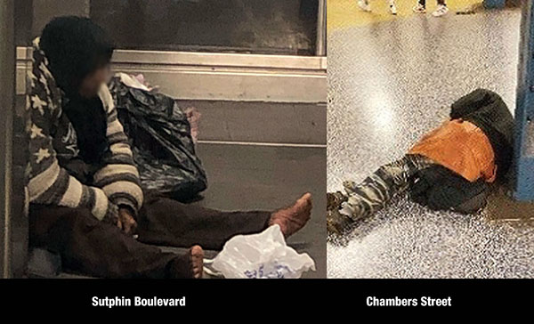 Homeless individuals in subway