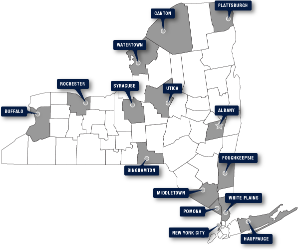 Map of New York State featuring NYSLRS Consultation Sites