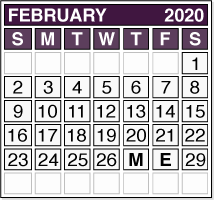 February 2020 Pension Payment Calendar