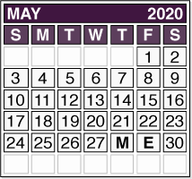 May 2020 Pension Payment Calendar