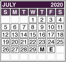 July 2020 Pension Payment Calendar